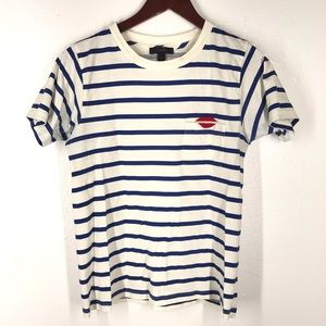 "J. Crew Tops - J.Crew Striped ""I beg your pardon"" pocket T-shirt"
